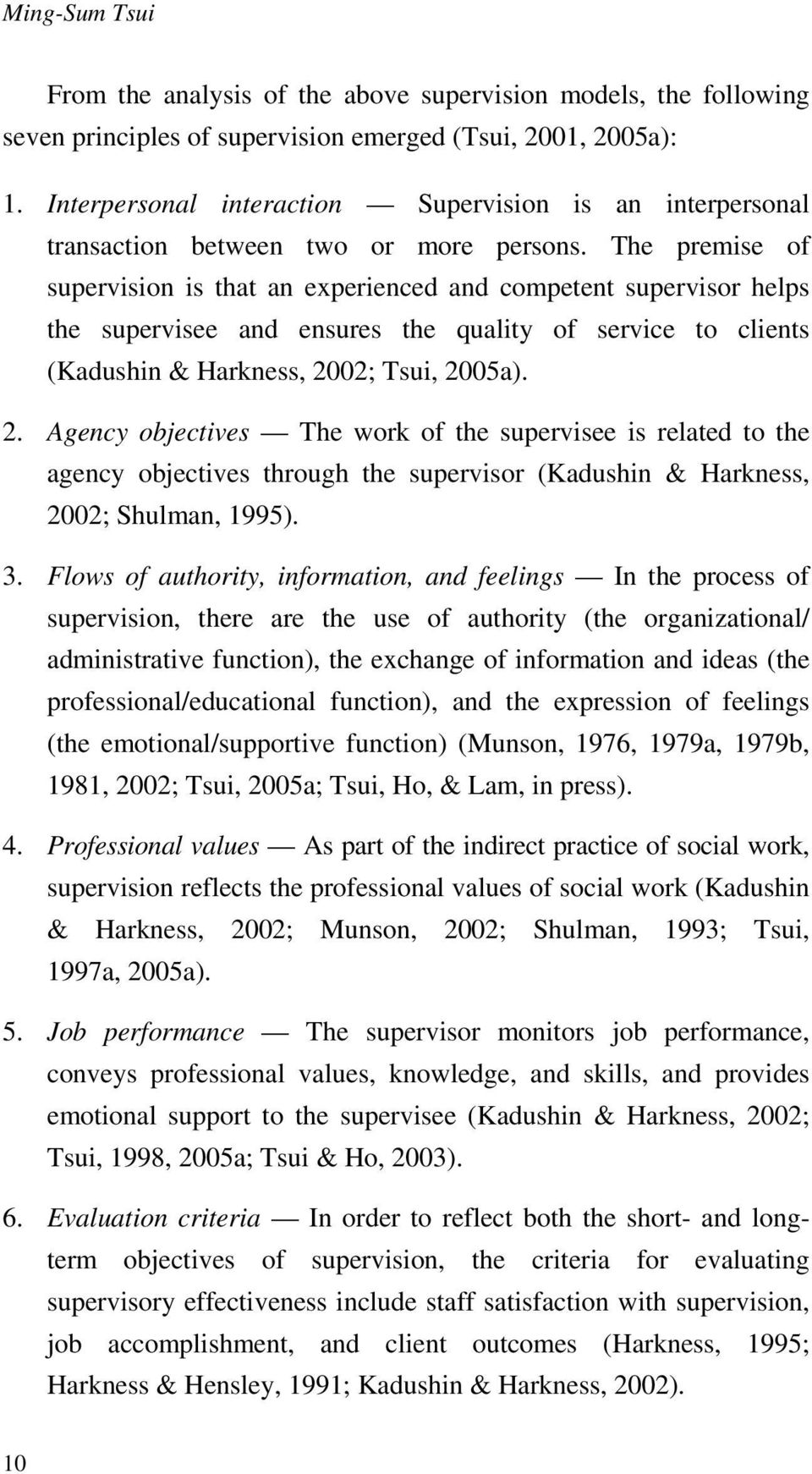 The premise of supervision is that an experienced and competent supervisor helps the supervisee and ensures the quality of service to clients (Kadushin & Harkness, 20