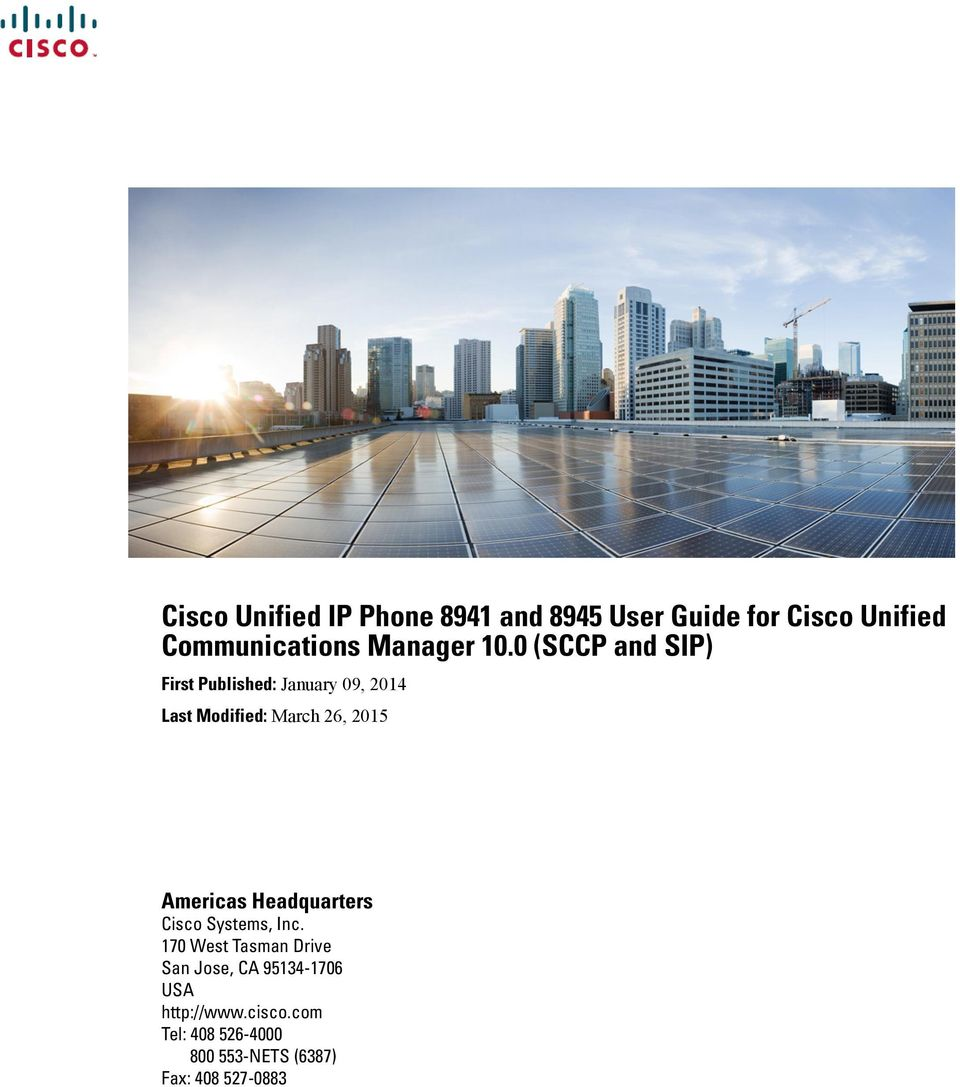 Cisco Unified IP Phone 8941 and 8945 User Guide for Cisco Unified