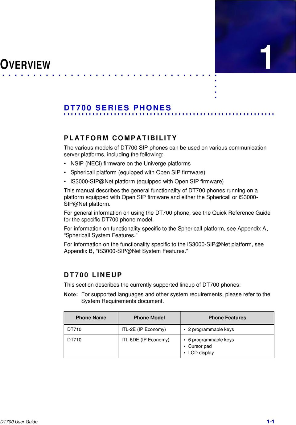 DT700 Phone User Manual For UNIVERGE Sphericall and Platforms - PDF