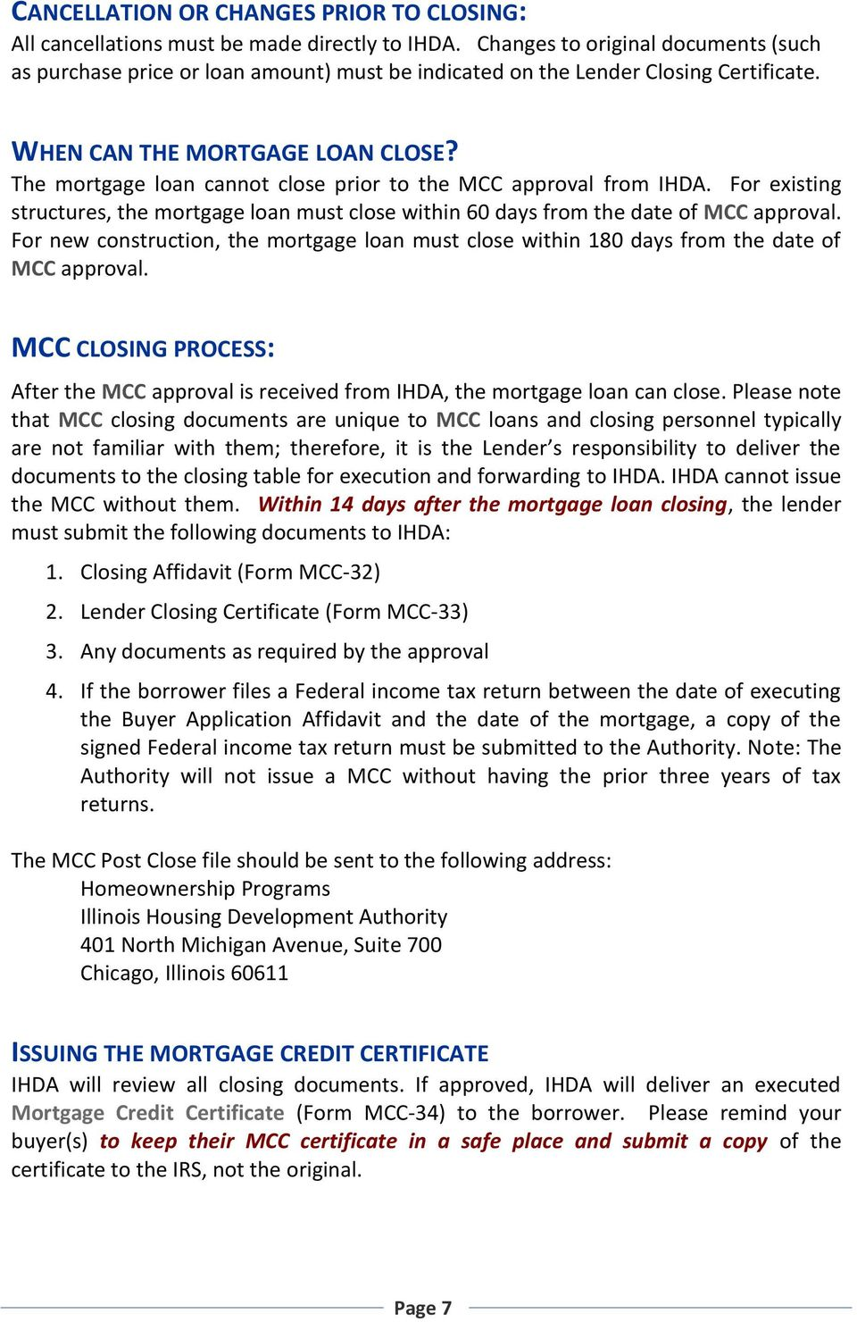 Mortgage Credit Certificate Mcc Procedural Guide Pdf