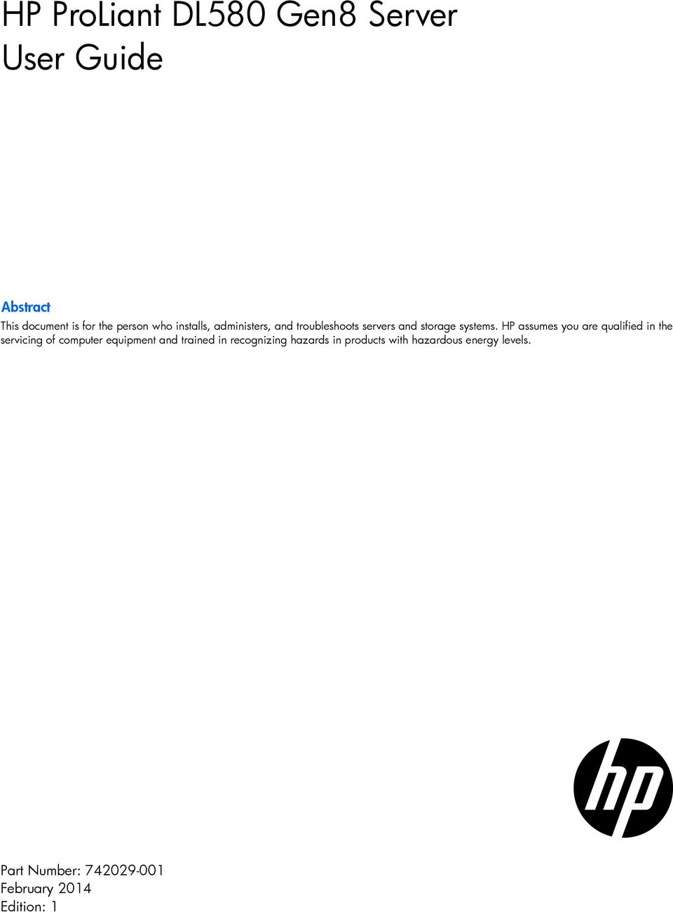 HP ProLiant DL580 Gen8 Server User Guide - PDF