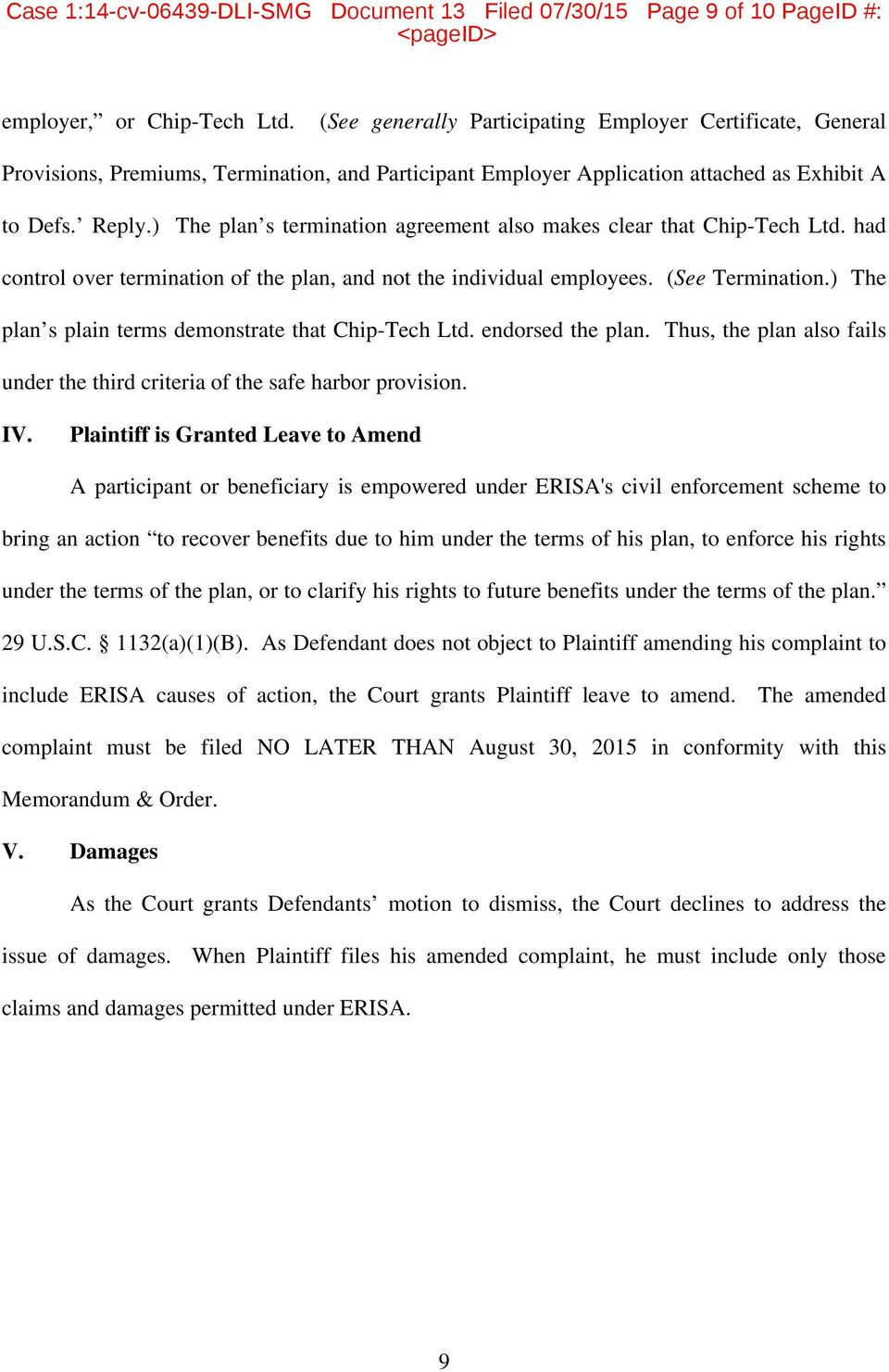 ) The plan s termination agreement also makes clear that Chip-Tech Ltd. had control over termination of the plan, and not the individual employees. (See Termination.