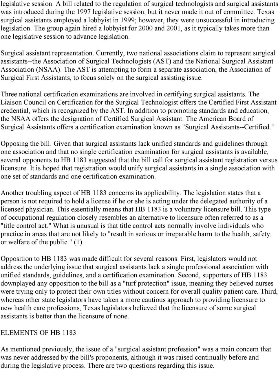 Licensing Surgical Assistants In Texas Health Policy Issues Pdf