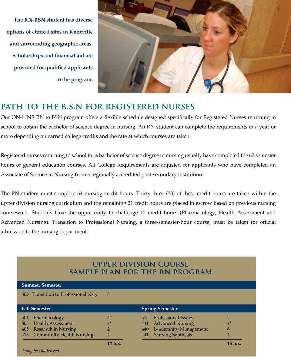 n for registered nurses Our ON-LINE RN to BSN program offers a flexible schedule designed specifically for Registered Nurses returning to school to obtain the bachelor of science degree in nursing.