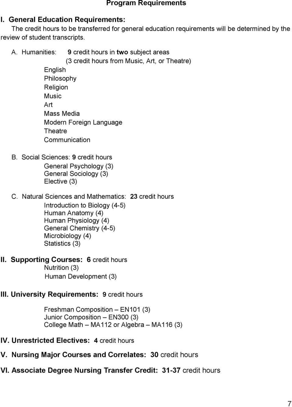 Social Sciences: 9 credit hours General Psychology (3) General Sociology (3) Elective (3) C.