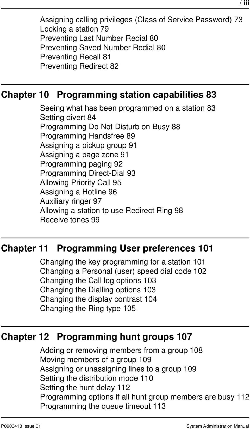 Group 91 Assigning A Page Zone Programming Paging 92 Direct Dial 93 Allowing