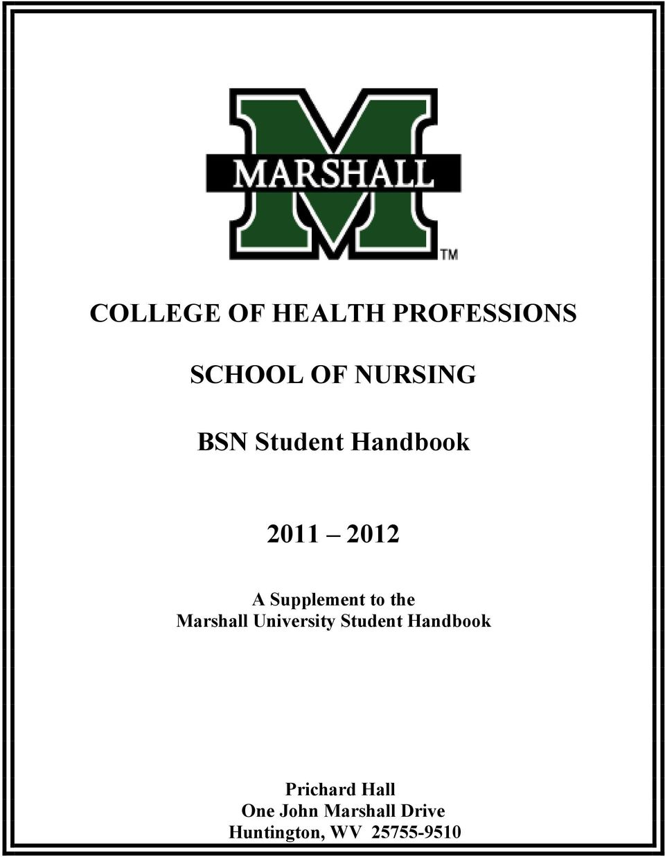 the Marshall University Student Handbook Prichard