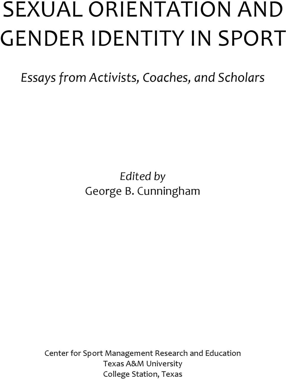 Gender and sexuality in sports essays
