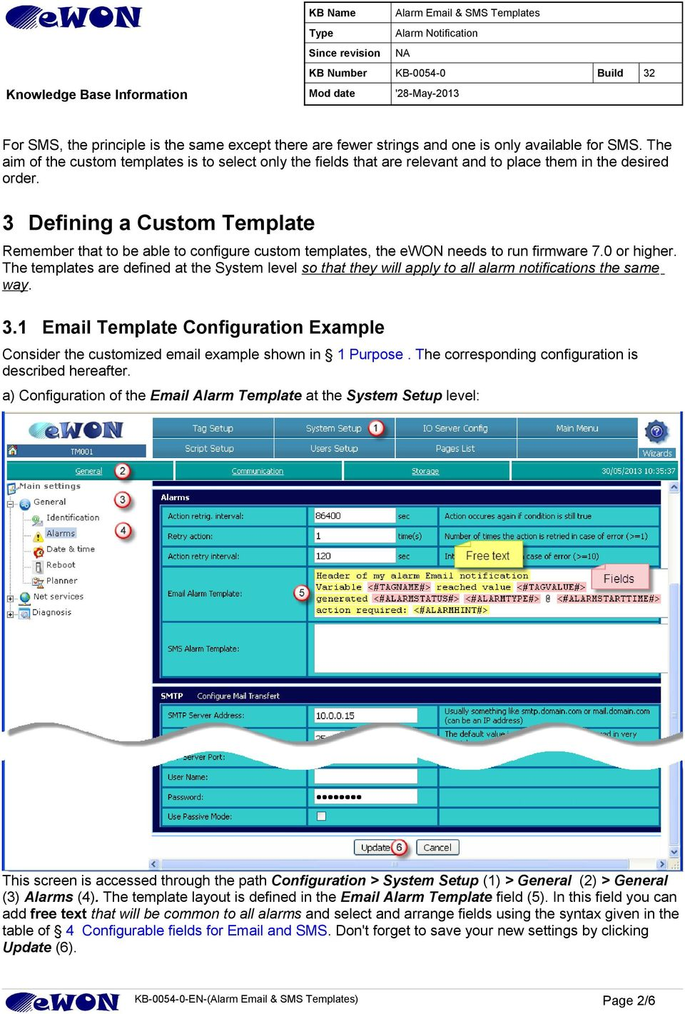 3 Defining a Custom Template Remember that to be able to configure custom templates, the ewon needs to run firmware 7.0 or higher.
