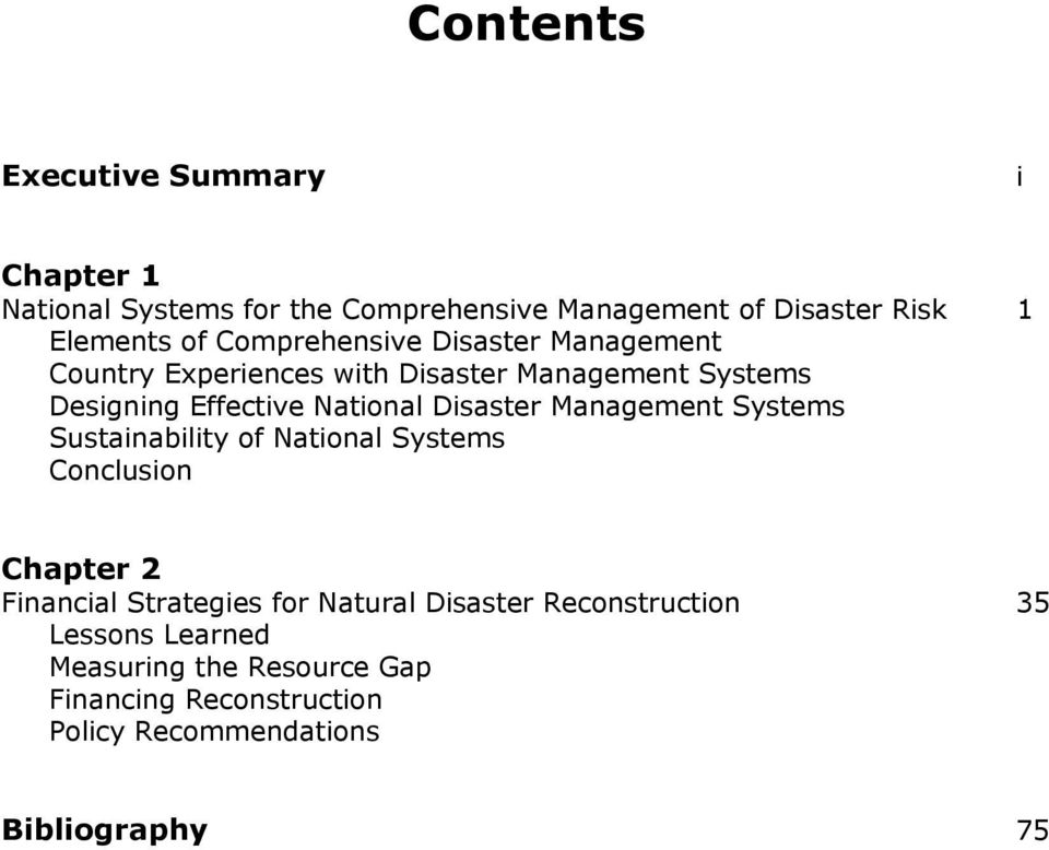 Disaster Management Systems Sustainability of National Systems Conclusion Chapter 2 Financial Strategies for Natural