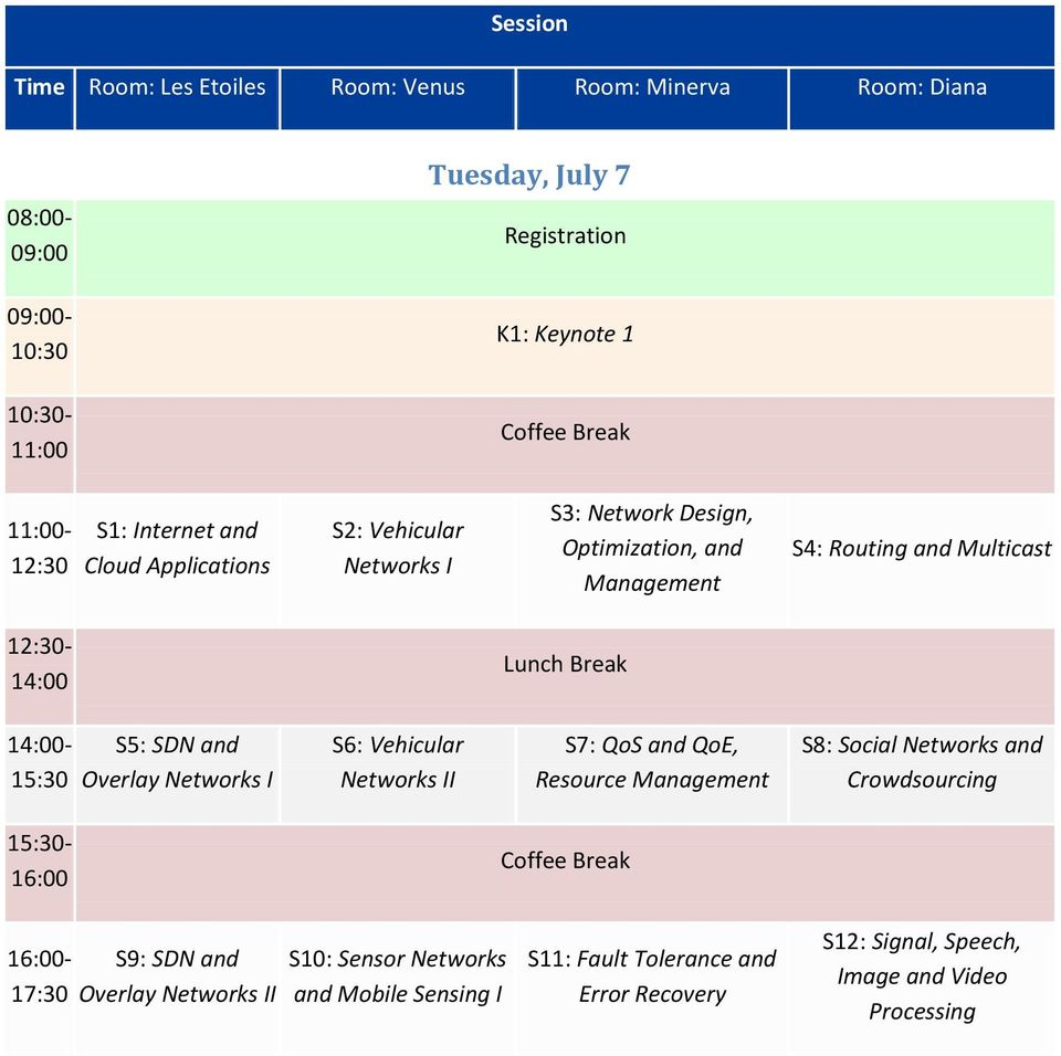 Break 14:00-15:30 S5: SDN and Overlay Networks I S6: Vehicular Networks II S7: QoS and QoE, Resource Management S8: Social Networks and Crowdsourcing 15:30-16:00 Coffee