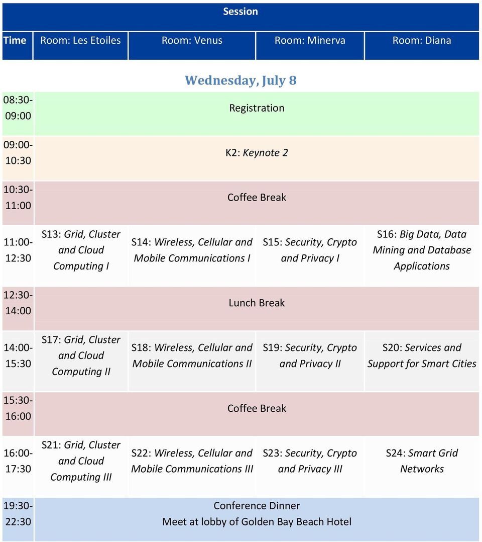 Grid, Cluster and Cloud Computing II S18: Wireless, Cellular and Mobile Communications II S19: Security, Crypto and Privacy II S20: Services and Support for Smart Cities 15:30-16:00 Coffee Break