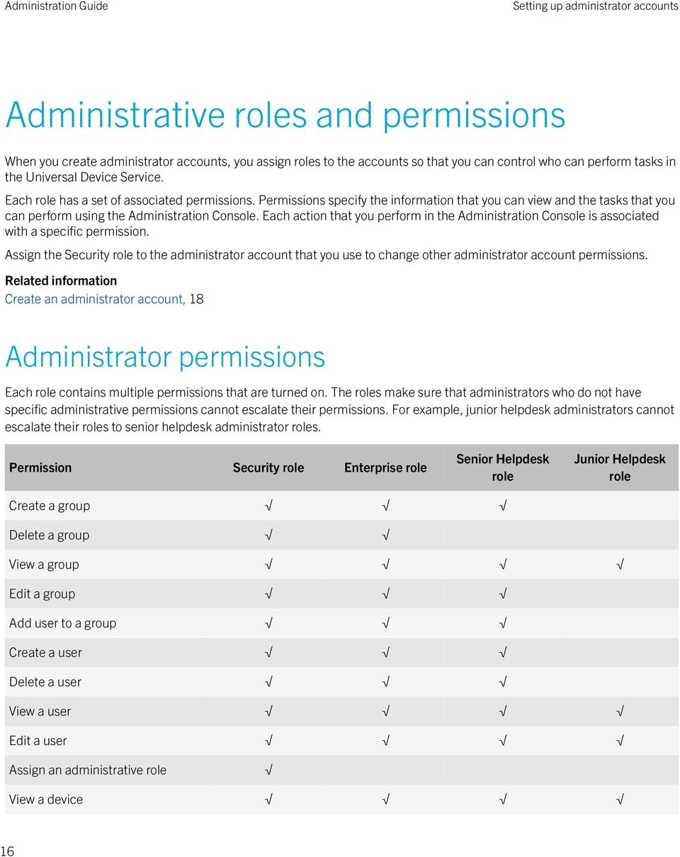 Each action that you perform in the Administration Console is associated with a specific permission.