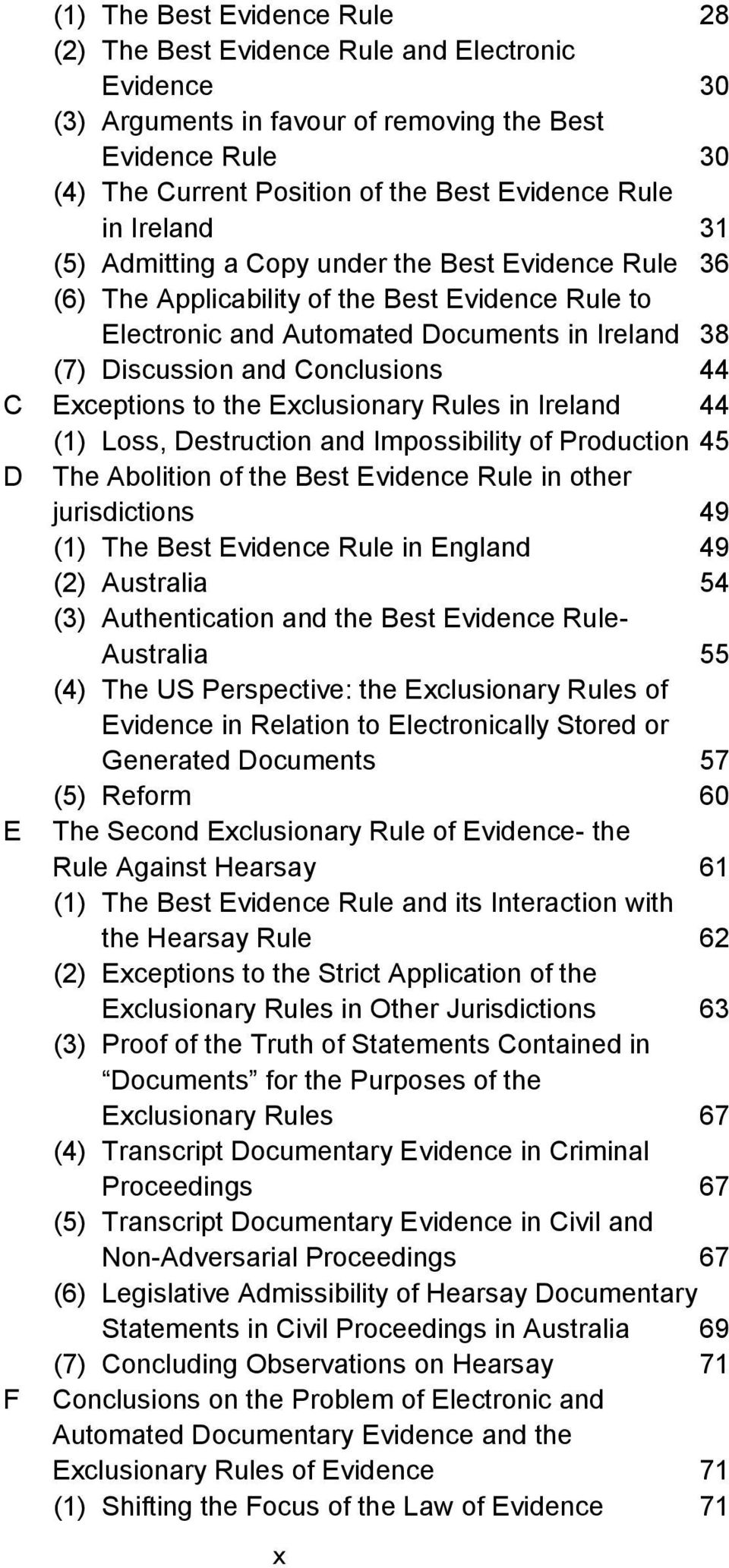 Exceptions to the Exclusionary Rules in Ireland 44 (1) Loss, Destruction and Impossibility of Production 45 D The Abolition of the Best Evidence Rule in other jurisdictions 49 (1) The Best Evidence