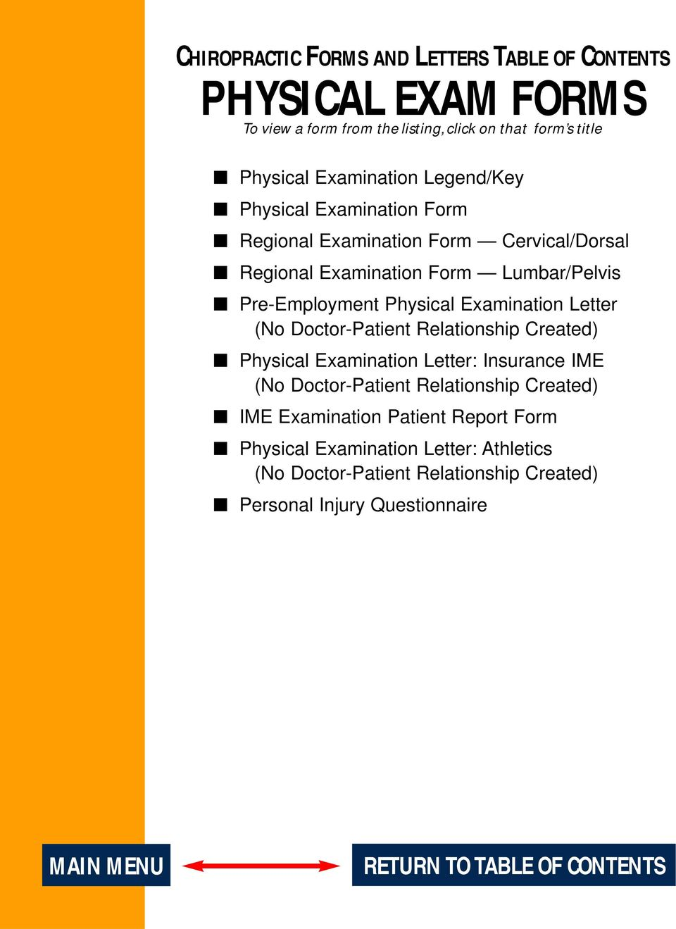 chiropractic introduction guidelines table of contents