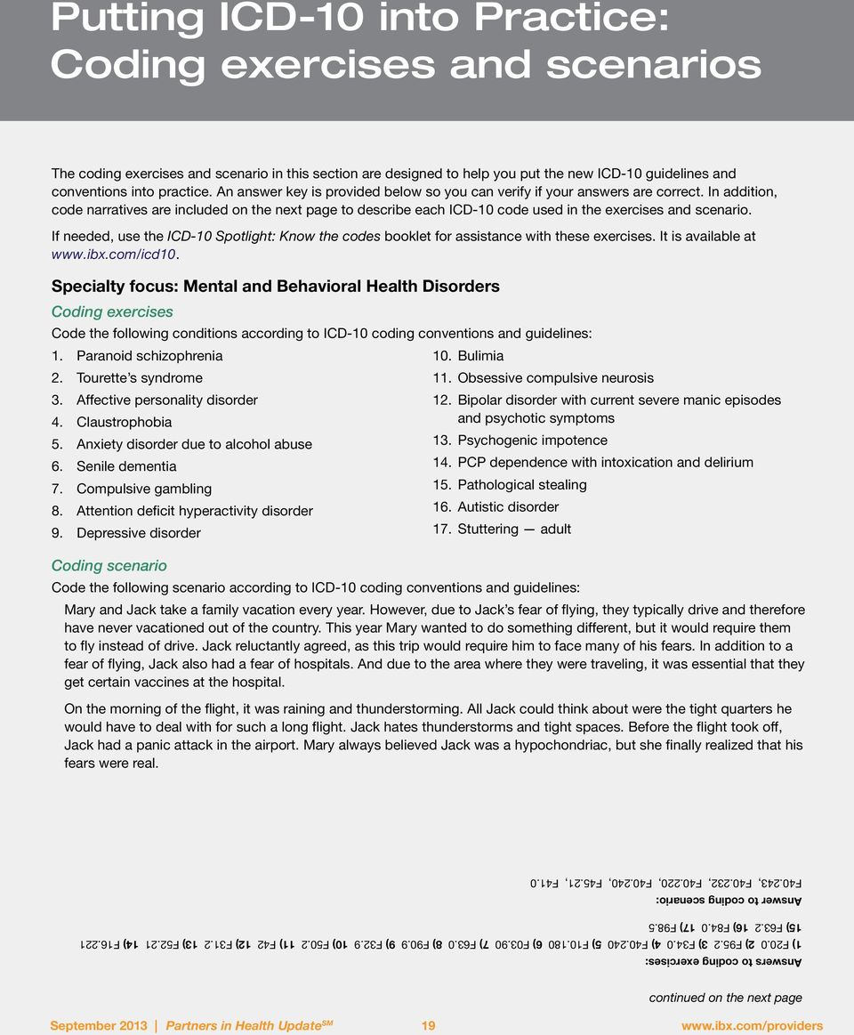 Putting Icd 10 Into Practice Coding Exercises And Scenarios Pdf