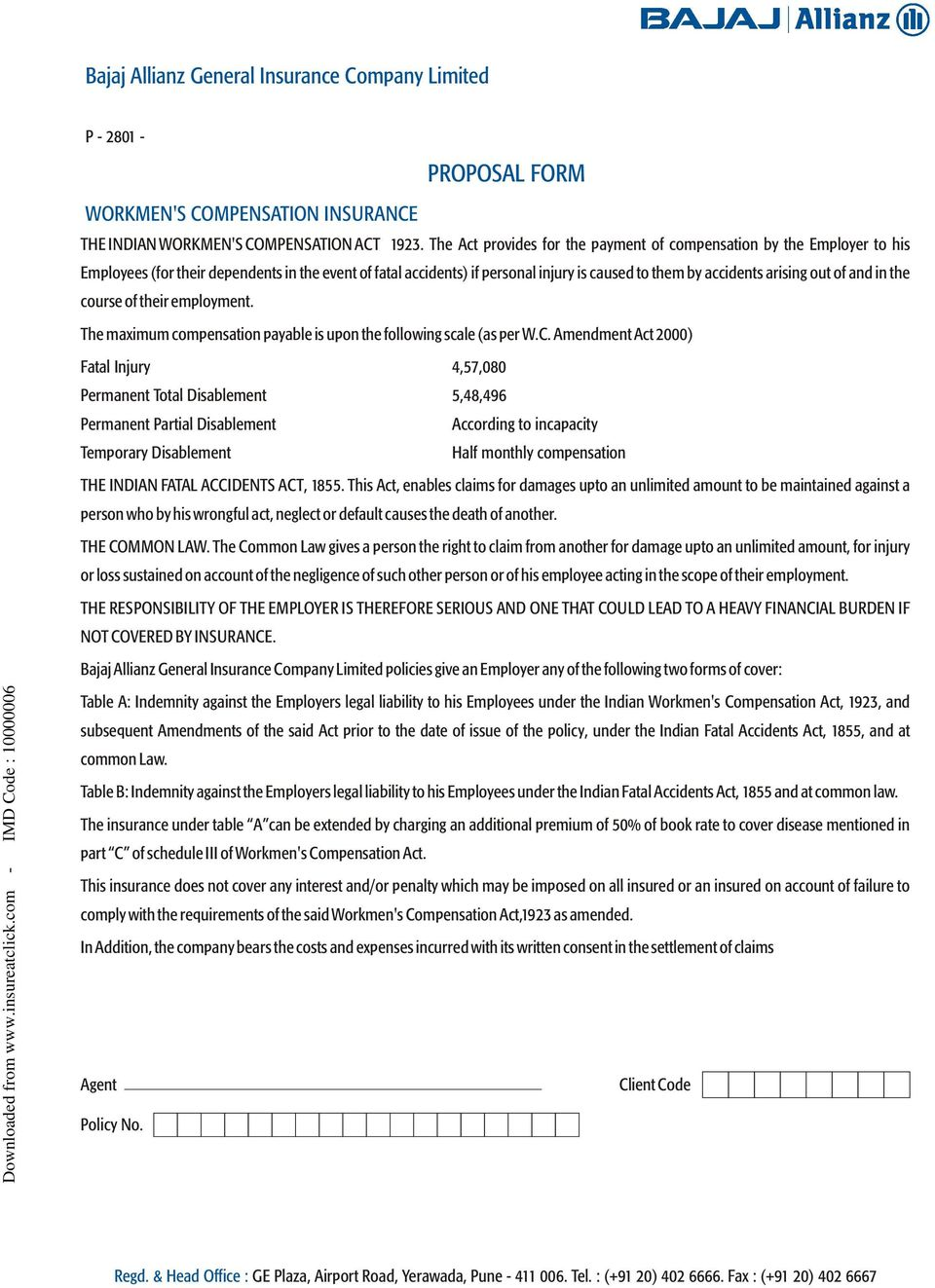 PROPOSAL FORM  Bajaj Allianz General Insurance Company Limited