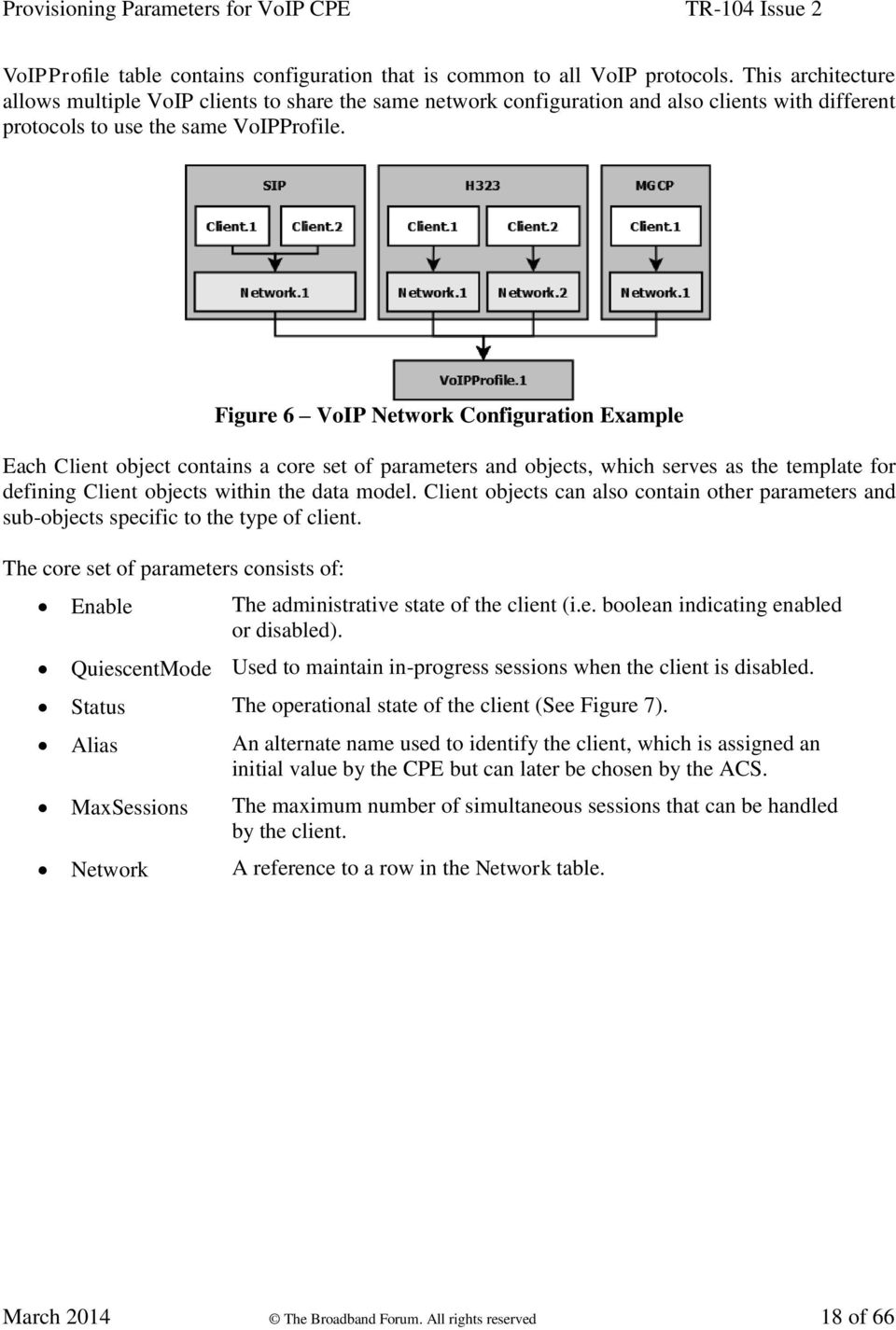 Figure 6 VoIP Network Configuration Example Each Client object contains a core set of parameters and objects, which serves as the template for defining Client objects within the data model.