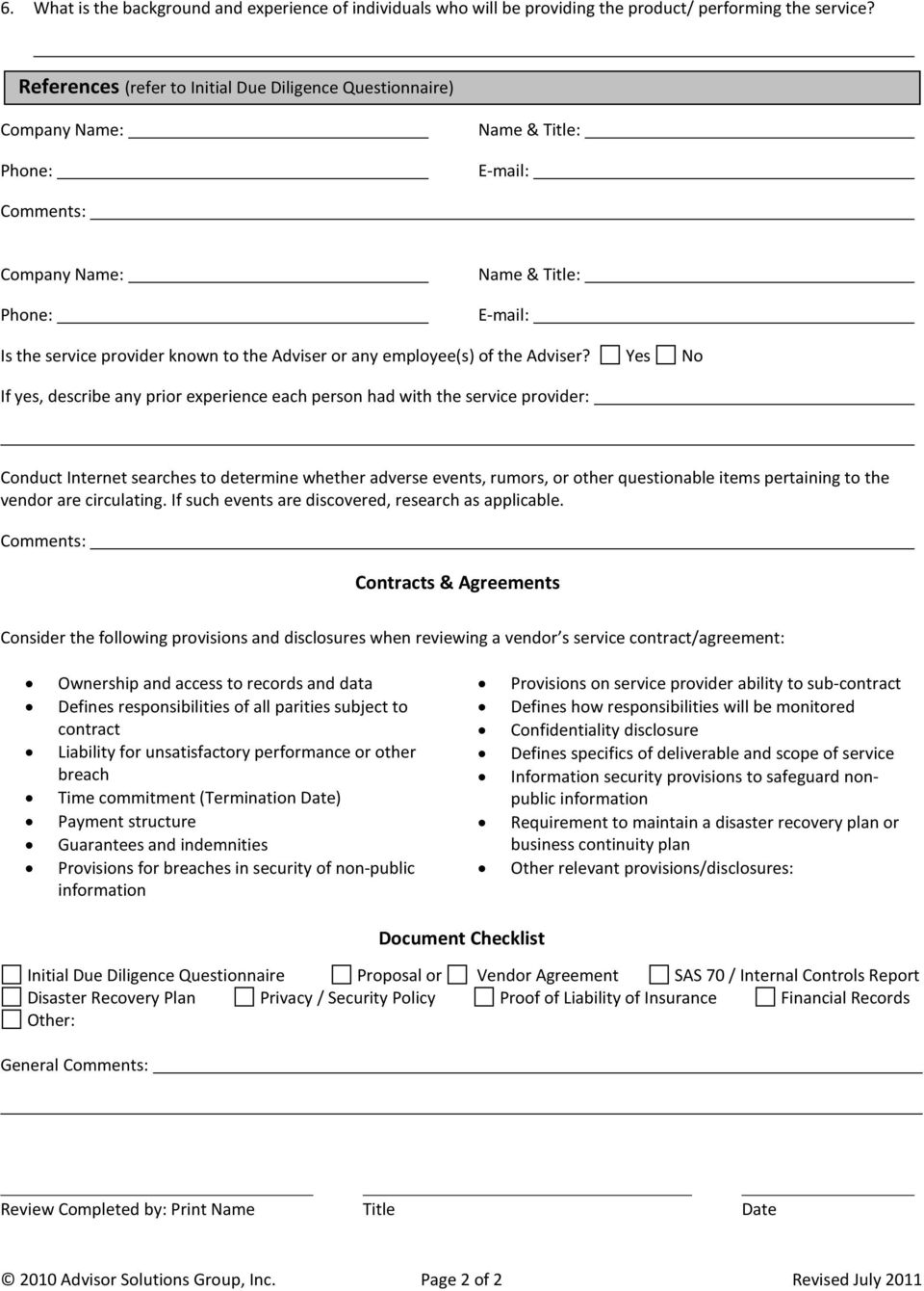 Outsourcing Due Diligence Form Pdf
