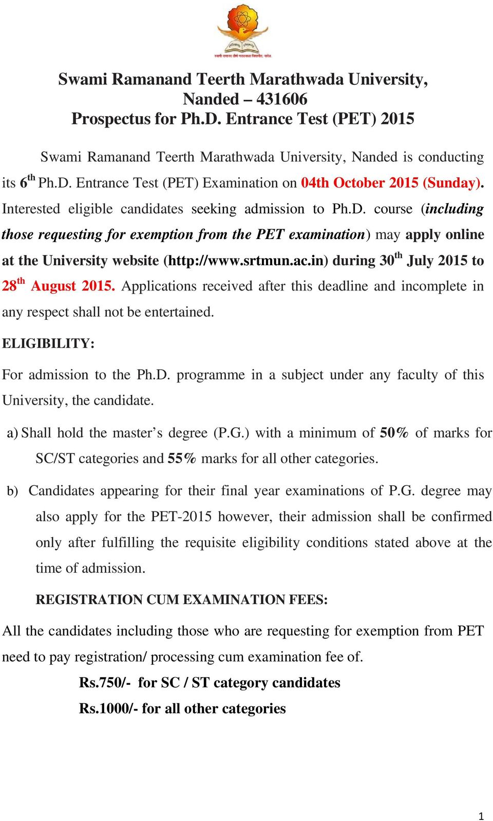 srtmun phd course work exam 2014