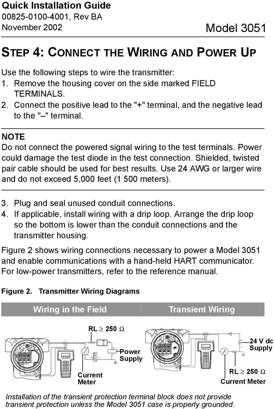 Model 3051 Pressure Transmitter With Hart Protocol Pdf Wiring Diagram Power Could Damage The Test Diode In Connection Shielded Twisted Pair Cable