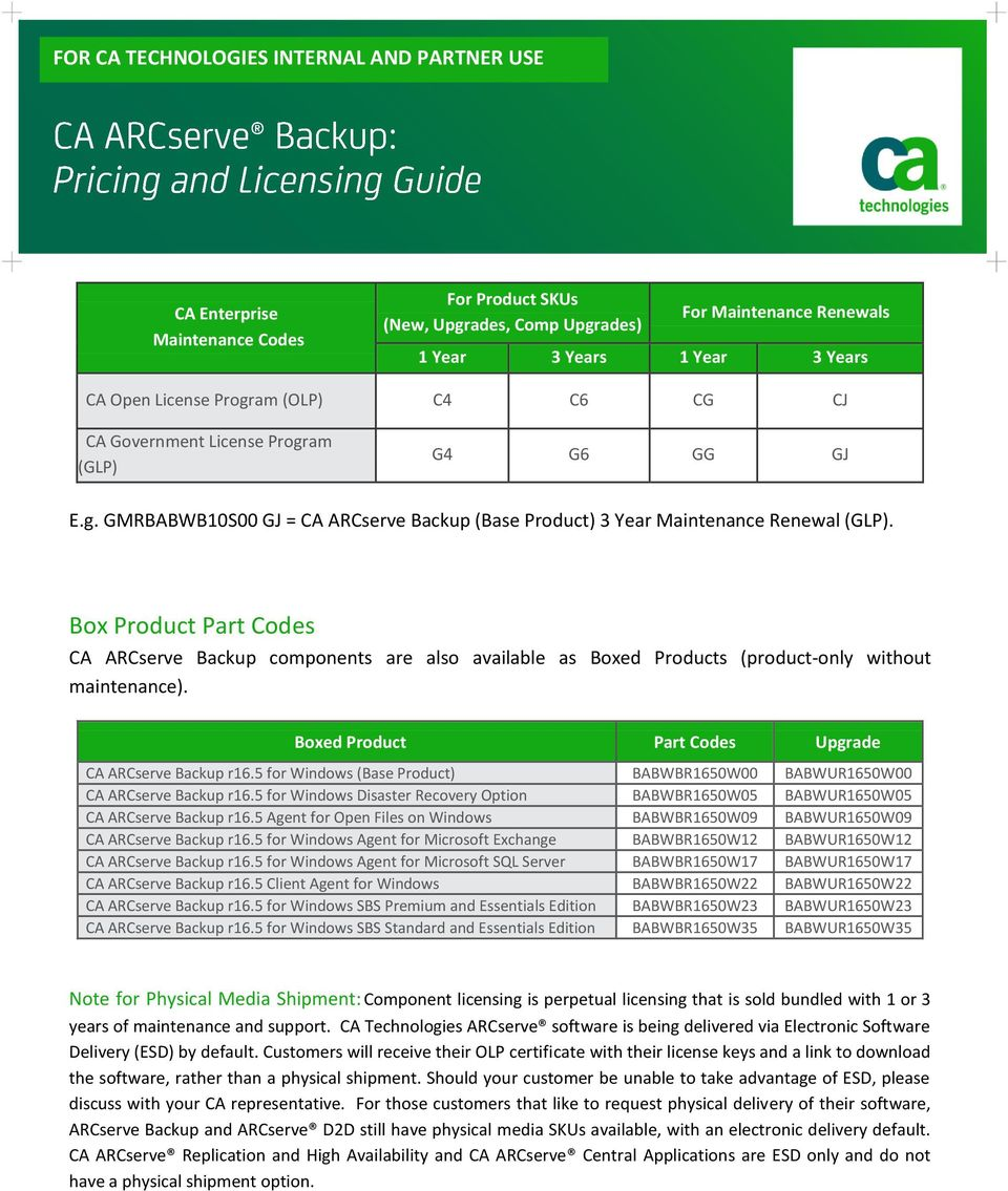 Box Product Part Codes CA ARCserve Backup components are also available as Boxed Products (product-only without maintenance).