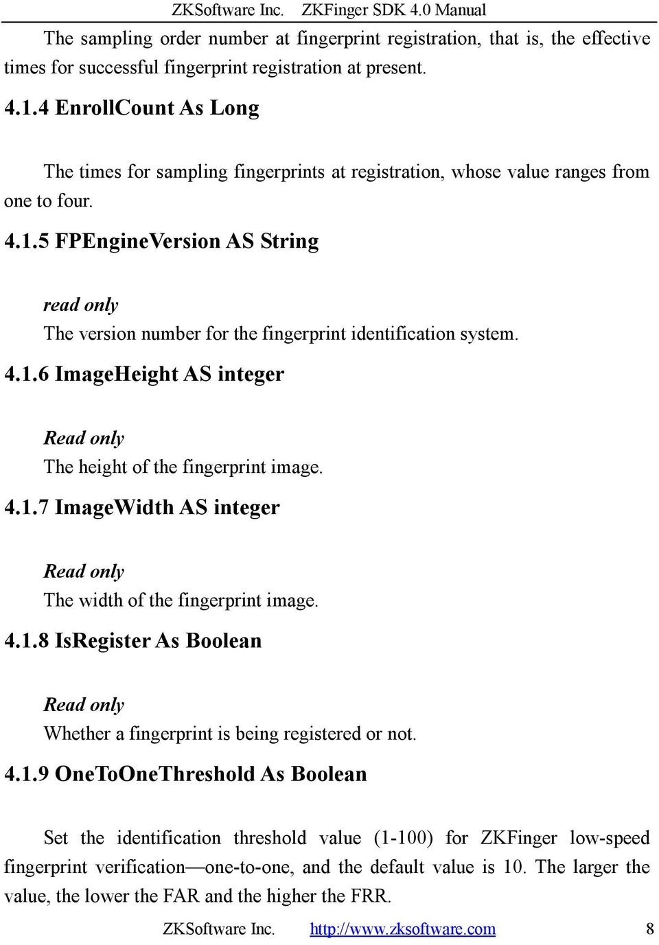 ZKFinger SDK 4 0 Manual - PDF