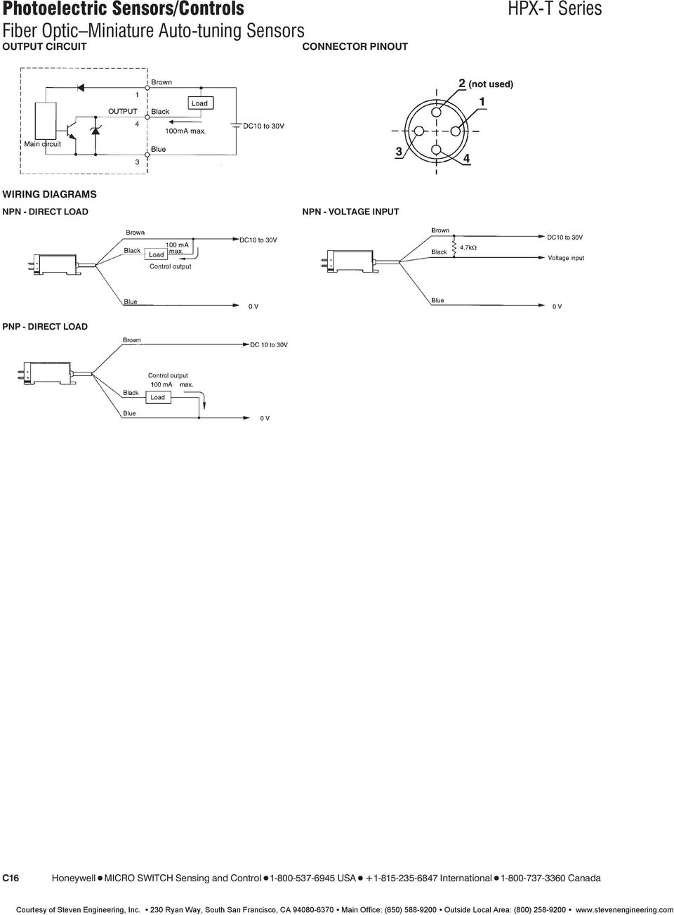 Photoelectric Sensors Controls Fiber Optic Miniature Pdf 110mm Wire Lever Microswitch Tend Hpx T Series Wiring Diagrams Npn