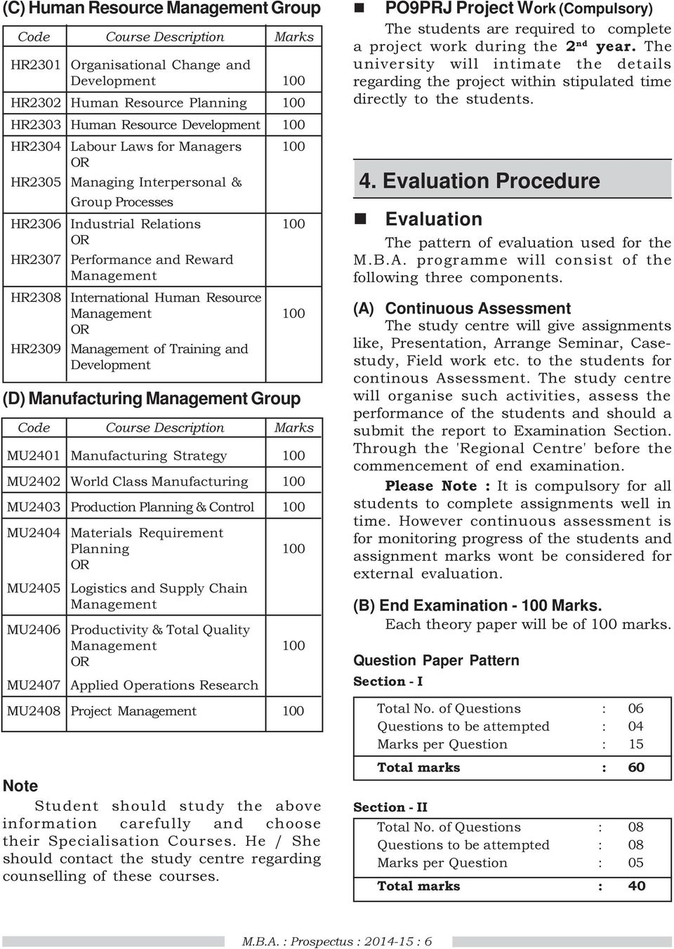 Master of Business Administration (M B A ) - P09 : Prospectus - PDF