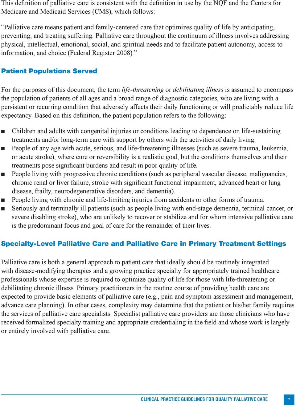 clinical practice guidelines for quality palliative care second