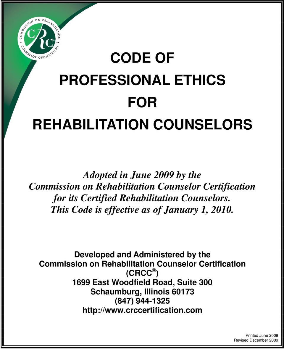 Code Of Professional Ethics For Rehabilitation Counselors Pdf