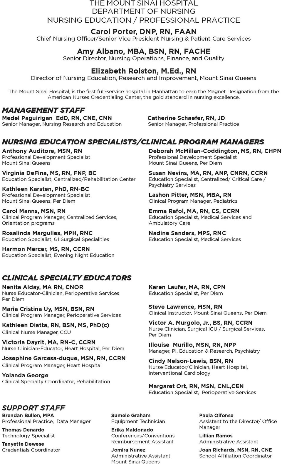 , RN Director of Nursing Education, Research and Improvement, Mount Sinai Queens The Mount Sinai Hospital, is the first full-service hospital in Manhattan to earn the Magnet Designation from the