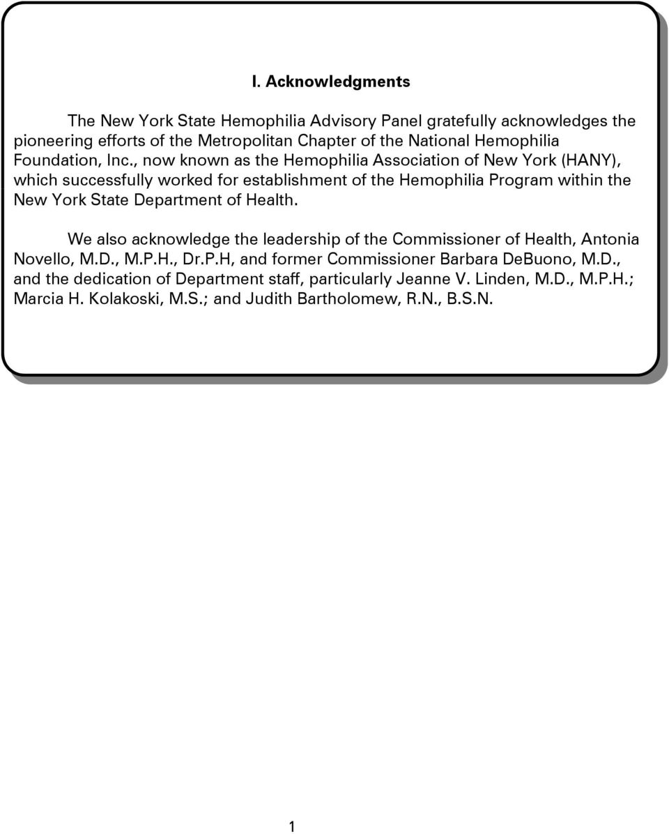 , now known as the Hemophilia Association of New York (HANY), which successfully worked for establishment of the Hemophilia Program within the New York State