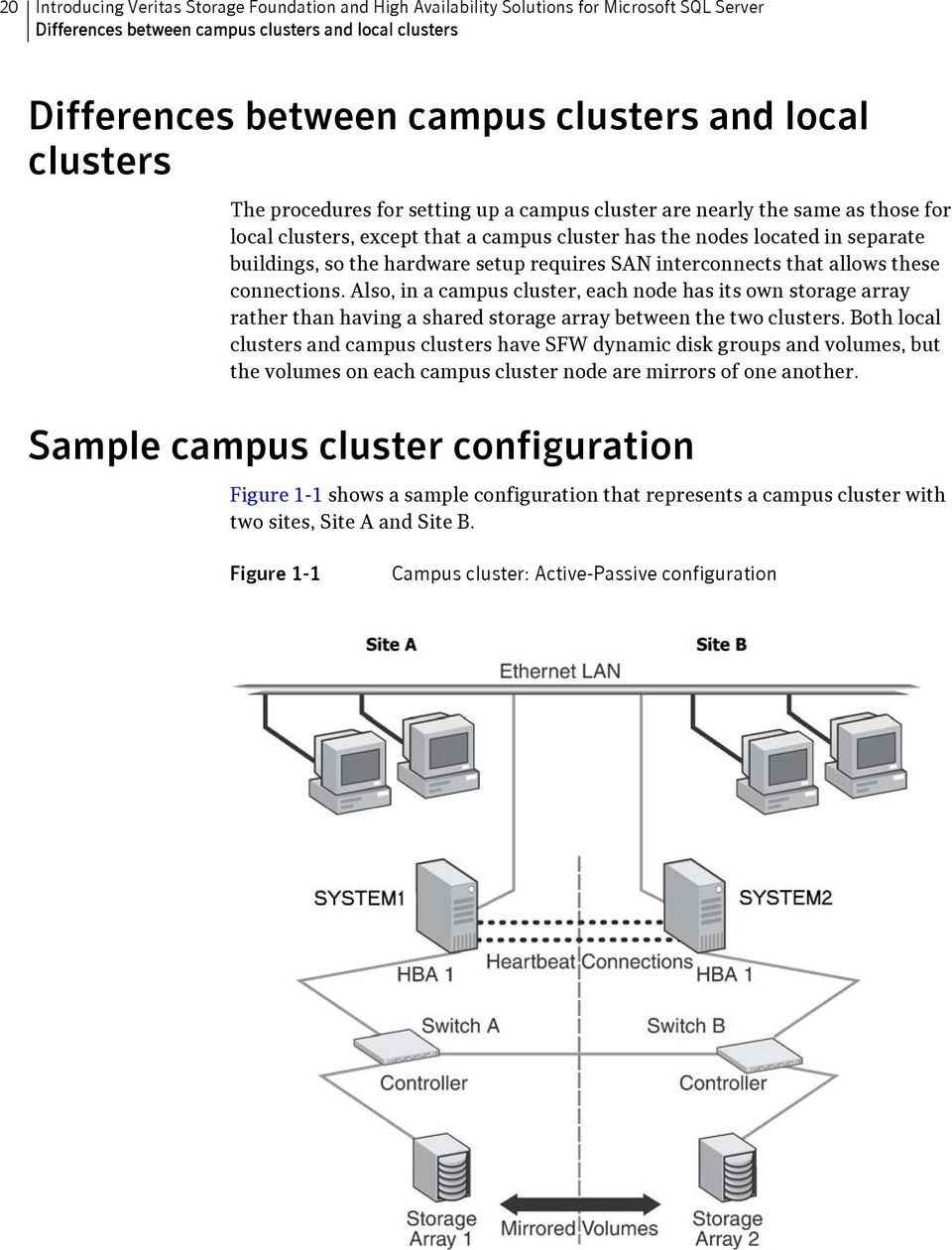 setup requires SAN interconnects that allows these connections. Also, in a campus cluster, each node has its own storage array rather than having a shared storage array between the two clusters.