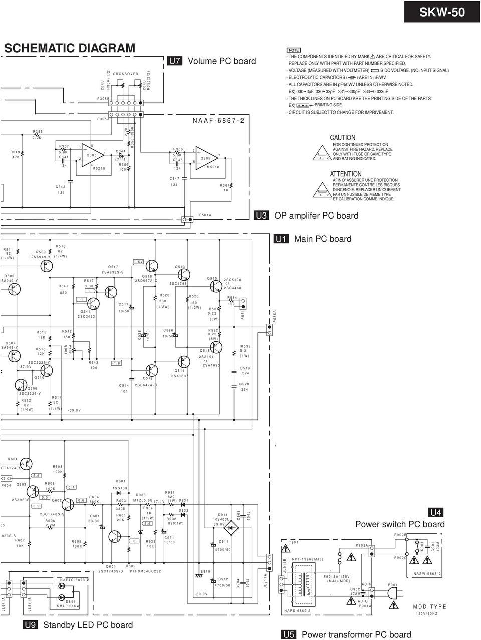 Service Manual Powered Subwoofer Pdf Addition Wiring Diagram On 8 Pin Crossover All Capacitors Are In Pf 50wv Unless Otherwise Noted Ex 030 3pf 330