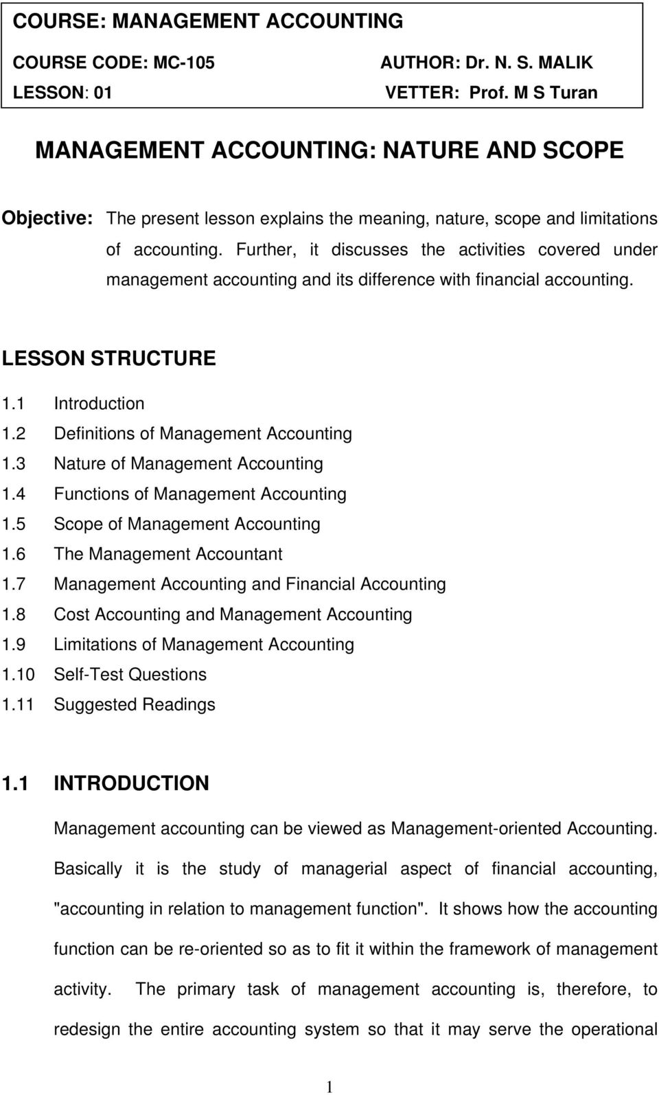 nature and scope of cost management