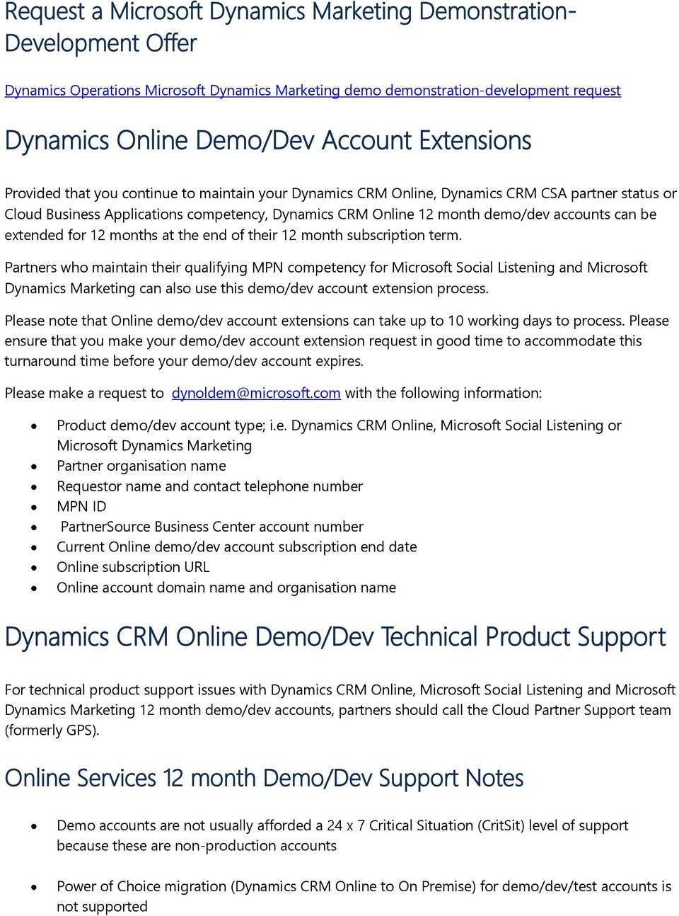 Dynamics Online Services 12 Month Partner Demonstration