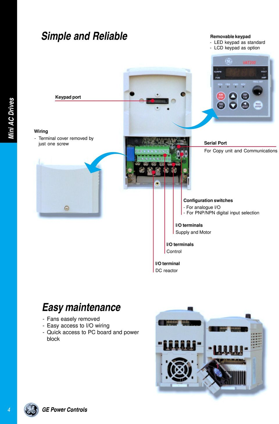 Vat 200 Mini Ac Drive Ge Power Controls Gepowercontrolscom Dc Reversing Relay Wiring Diagram Hecho Analogue I O For Pnp Npn Digital Input Selection Terminals Supply