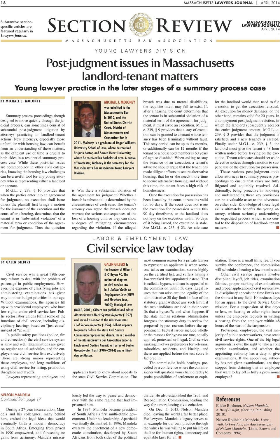 Massachusetts landlord-tenant matters Young lawyer practice in the later stages of a summary process case By Michael J.