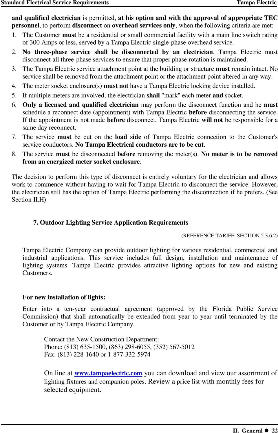 Standard Electrical Service Requirements - PDF