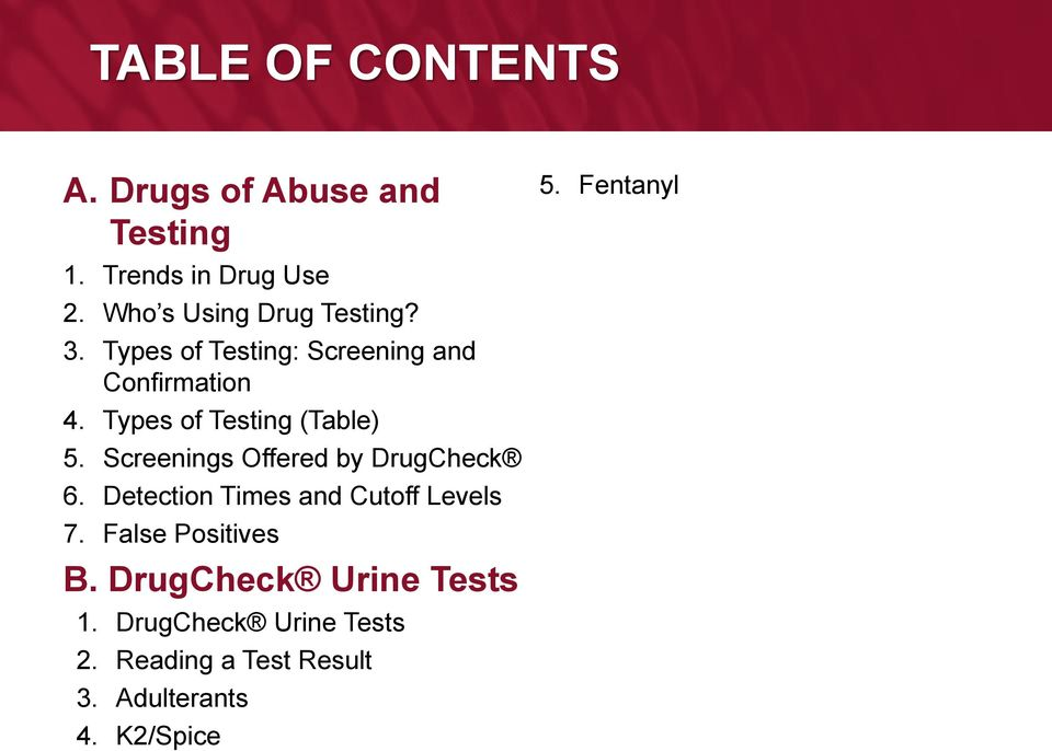 Drug Testing and Product Training - PDF