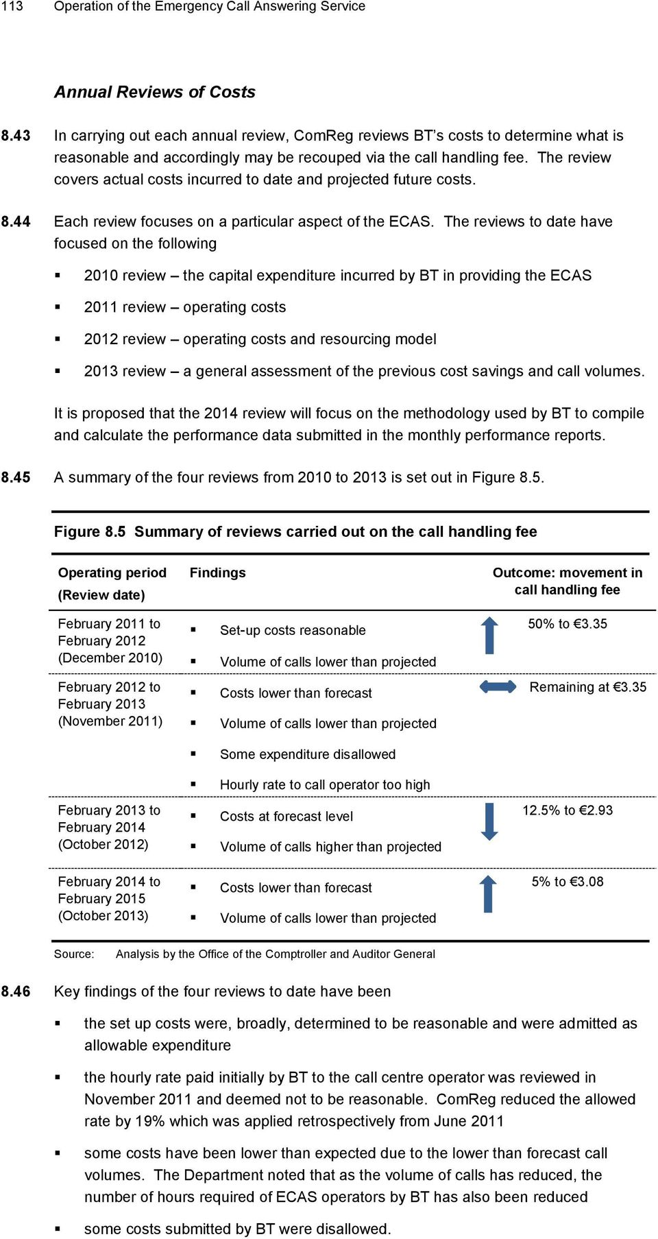 The review covers actual costs incurred to date and projected future costs. 8.44 Each review focuses on a particular aspect of the ECAS.