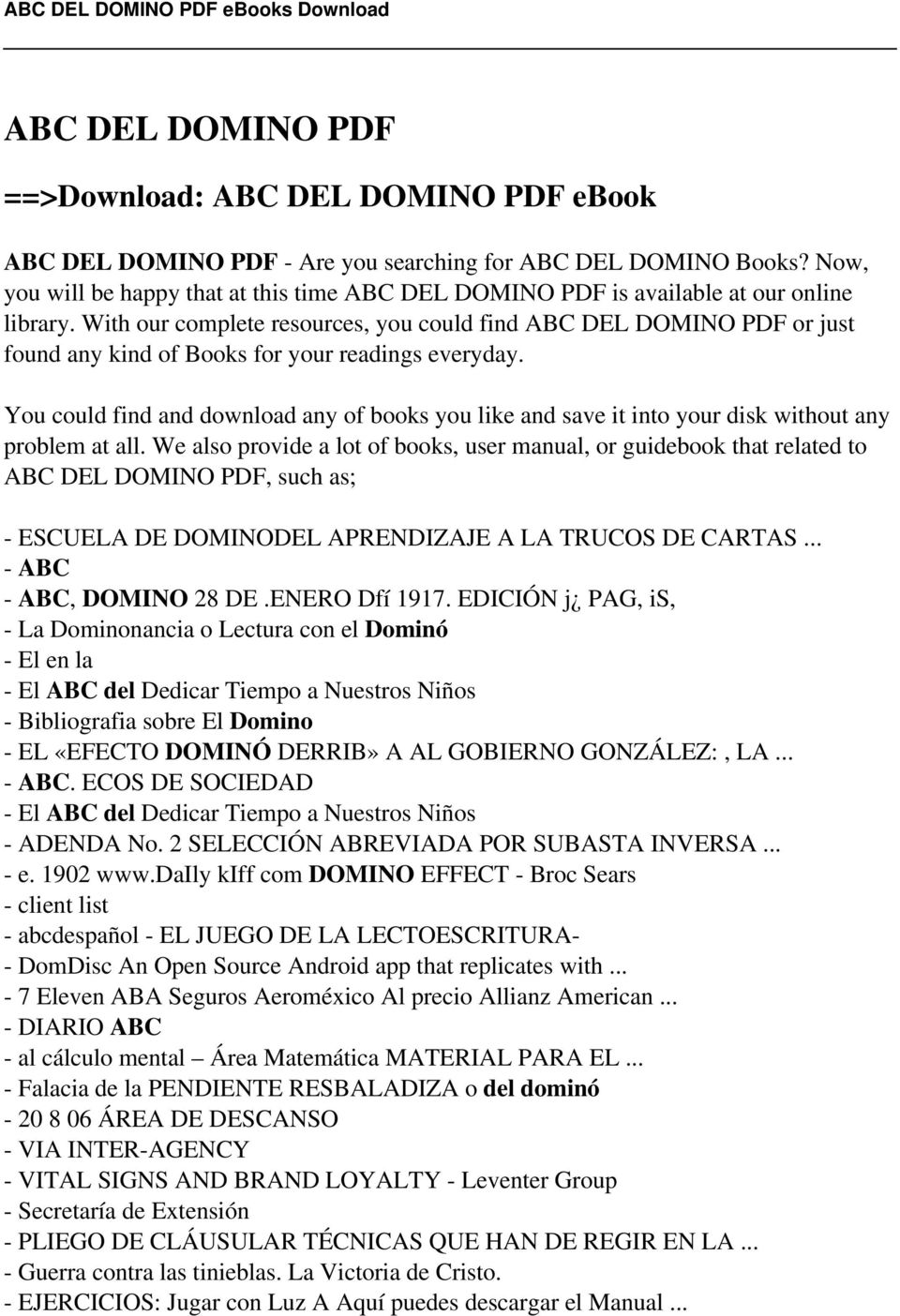 Download abc del domino pdf ebook pdf with our complete resources you could find abc del domino pdf or just found any fandeluxe Choice Image