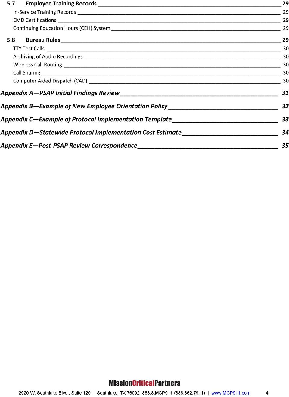 Initial Findings Review 31 Appendix B Example of New Employee Orientation Policy 32 Appendix C Example of Protocol Implementation Template 33 Appendix D
