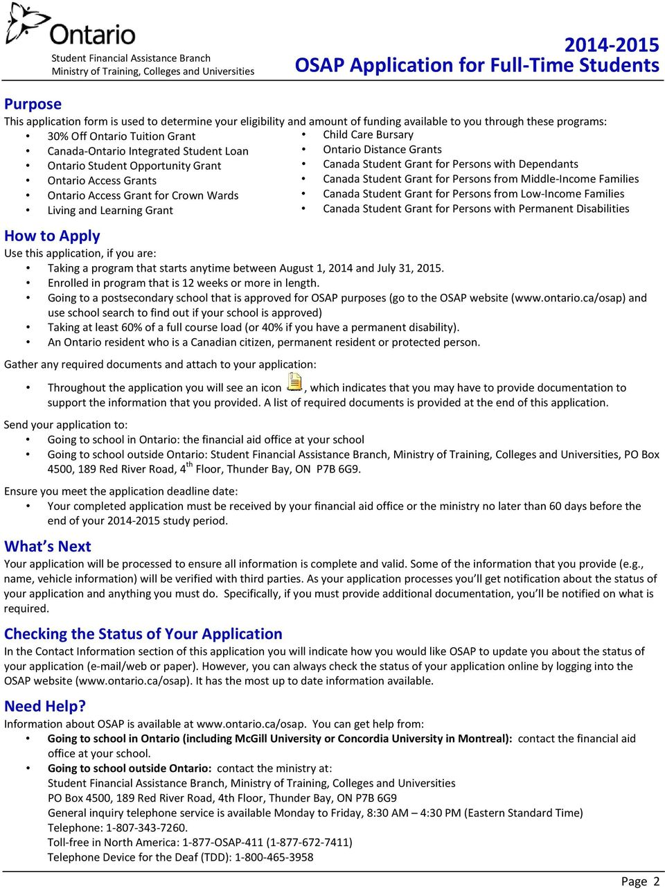 Osap Application For Full Time Students Pdf