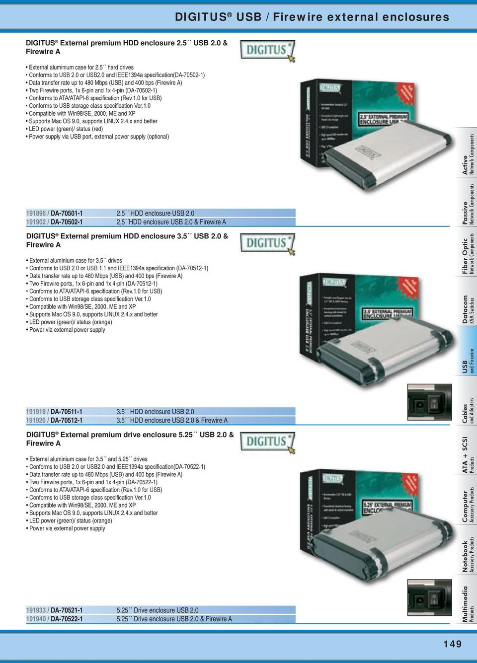 Usb And Firewire Digitus Hubs From Page 142 Card Notebook Ide Interface Cdrom To External Drive Circuit Boardred Rev10 For Conforms Storage Class Specification Ver10 Compatible With 10 Enclosures Hdd