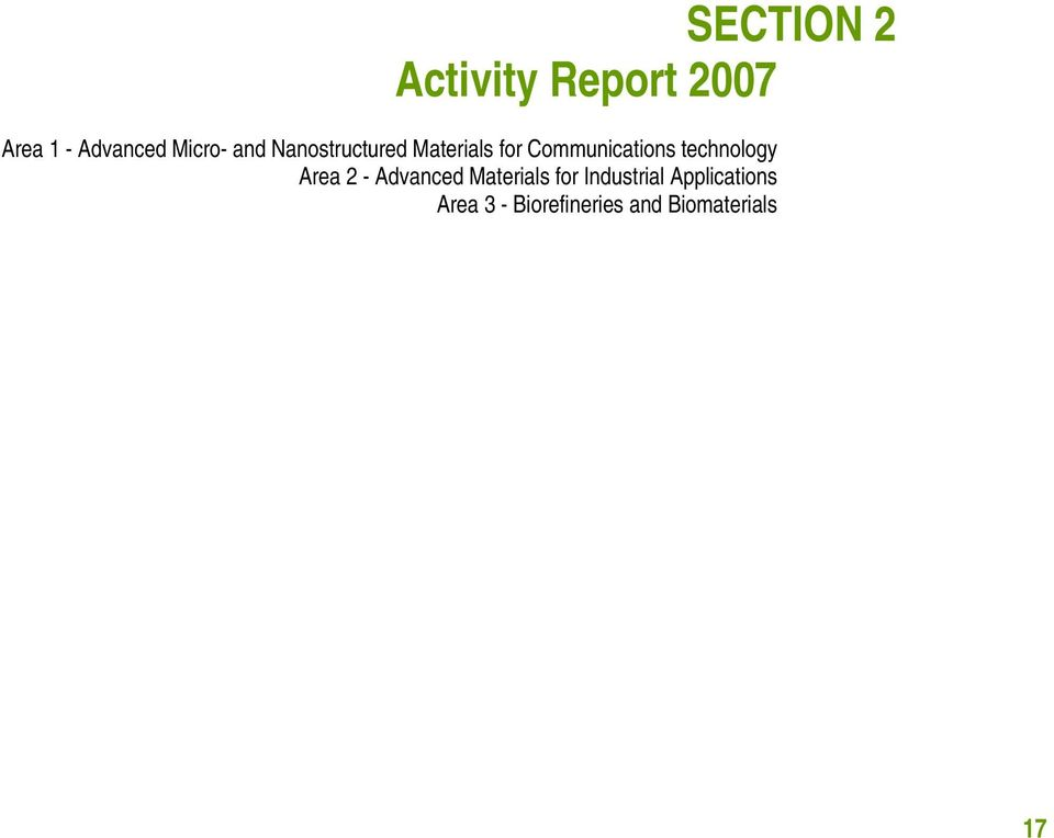 Communications technology Area 2 - Advanced Materials