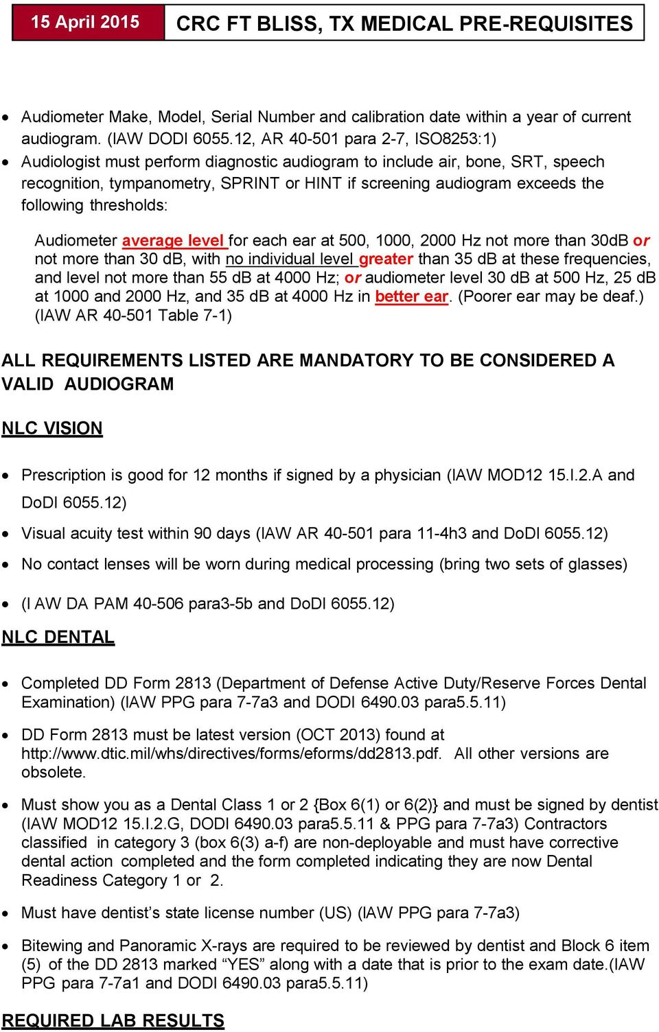 Crc Ft Bliss Tx Medical Pre Requisites Pdf