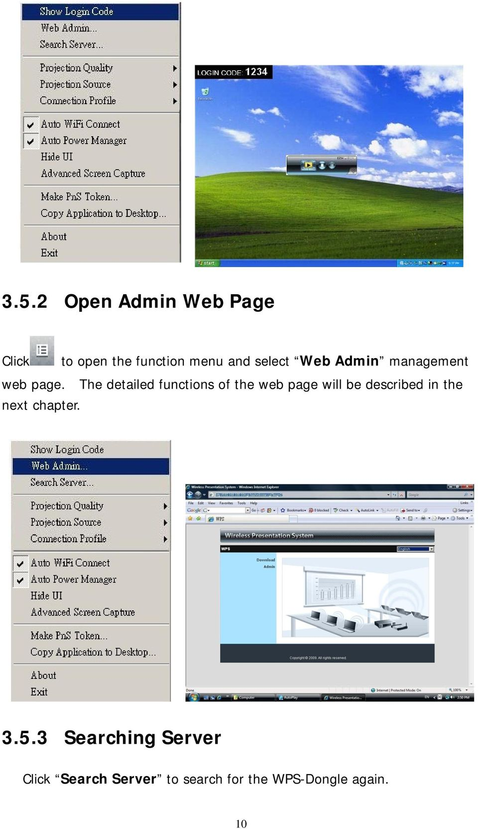 The detailed functions of the web page will be described in the