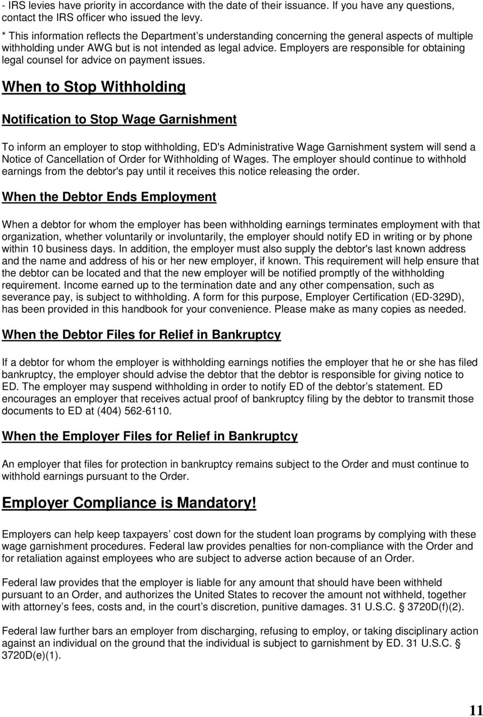 U S Department Of Education Employer S Garnishment Handbook Revised